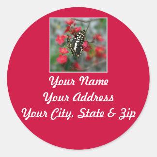 Pretty Butterfly Address Label Classic Round Sticker