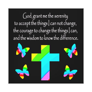 PRETTY BUTTERFLY AND CROSS SERENITY PRAYER DESIGN CANVAS PRINT