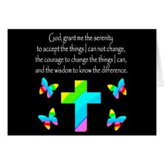 PRETTY BUTTERFLY AND CROSS SERENITY PRAYER DESIGN CARD