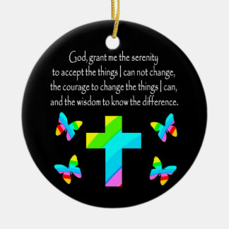PRETTY BUTTERFLY AND CROSS SERENITY PRAYER DESIGN CERAMIC ORNAMENT