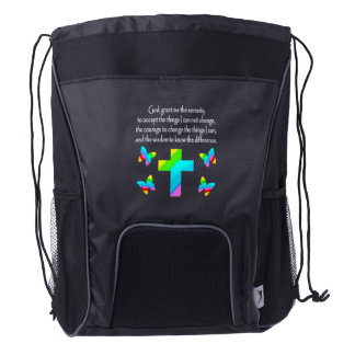 PRETTY BUTTERFLY AND CROSS SERENITY PRAYER DESIGN DRAWSTRING BACKPACK