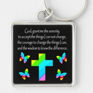 PRETTY BUTTERFLY AND CROSS SERENITY PRAYER DESIGN KEYCHAIN