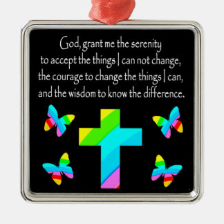 PRETTY BUTTERFLY AND CROSS SERENITY PRAYER DESIGN METAL ORNAMENT