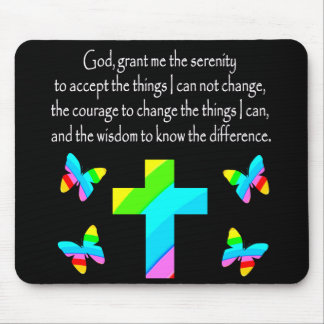 PRETTY BUTTERFLY AND CROSS SERENITY PRAYER DESIGN MOUSE PAD