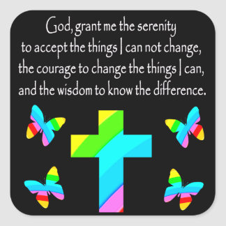 PRETTY BUTTERFLY AND CROSS SERENITY PRAYER DESIGN SQUARE STICKER