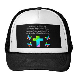 PRETTY BUTTERFLY AND CROSS SERENITY PRAYER DESIGN TRUCKER HAT