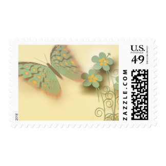 Pretty Butterfly and Flower Background Postage