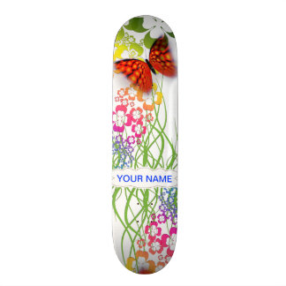 pretty butterfly and flowers skateboard