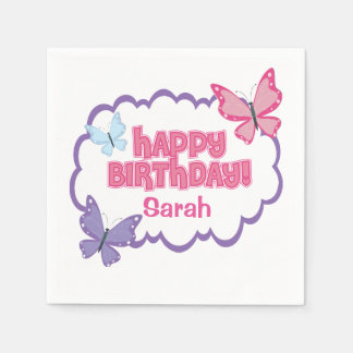 Pretty Butterfly Birthday Party Napkins