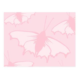 Pretty Butterfly Design in Pastel Pink. Postcard