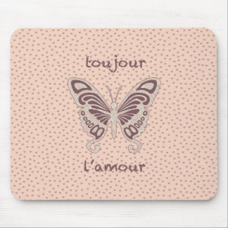 Pretty Butterfly Love Heart Pattern Mouse Pad