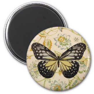Pretty Butterfly on Jacobean Floral 2 Inch Round Magnet
