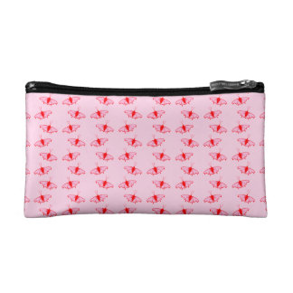 Pretty Butterfly Pattern in Pink and Red. Cosmetic Bags