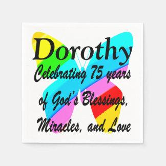 PRETTY BUTTERFLY PERSONALIZE 75TH BIRTHDAY NAPKIN