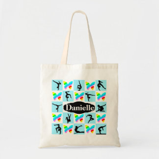 PRETTY BUTTERFLY PERSONALIZED GYMNASTICS TOTE BAG