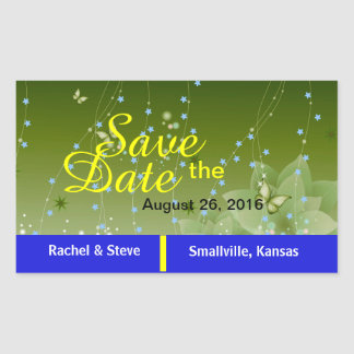 Pretty Butterfly Save the Date Green Stickers