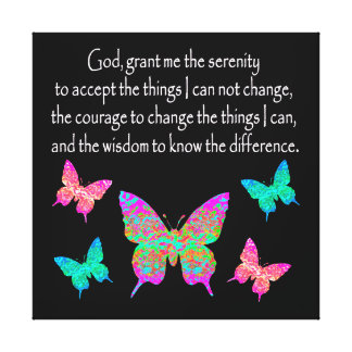 PRETTY BUTTERFLY SERENITY PRAYER DESIGN CANVAS PRINT