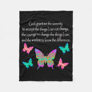 PRETTY BUTTERFLY SERENITY PRAYER DESIGN FLEECE BLANKET