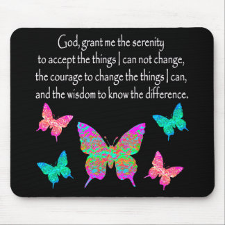 PRETTY BUTTERFLY SERENITY PRAYER DESIGN MOUSE PAD