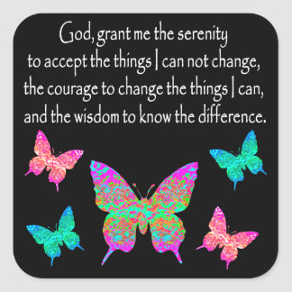 PRETTY BUTTERFLY SERENITY PRAYER DESIGN SQUARE STICKER