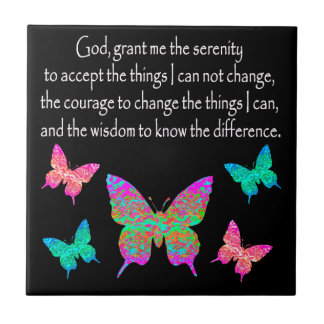 PRETTY BUTTERFLY SERENITY PRAYER DESIGN TILE