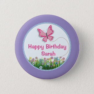 Pretty Butterfly, Spring Birthday Button