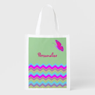 Pretty Butterfly & Stripes Grocery Bag