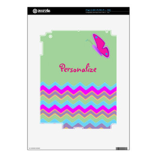 Pretty Butterfly & Stripes Skins For iPad 2