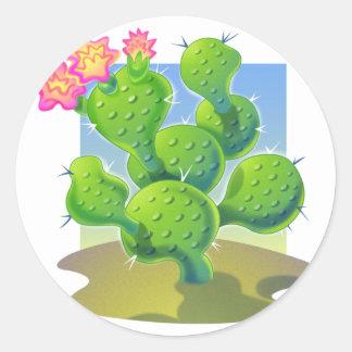 Pretty Cactus Vector Classic Round Sticker
