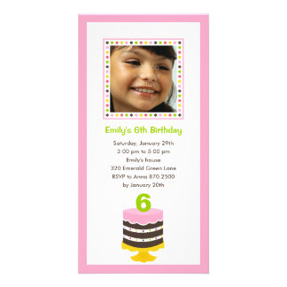 Pretty Cake Photo Birthday Party Invitation - Pink