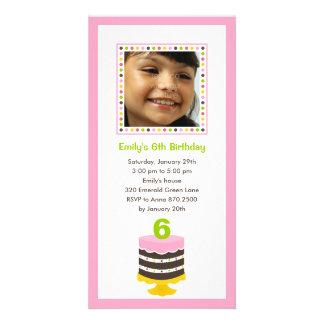 Pretty Cake Photo Birthday Party Invitation - Pink