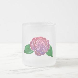 pretty camellia frosted glass coffee mug