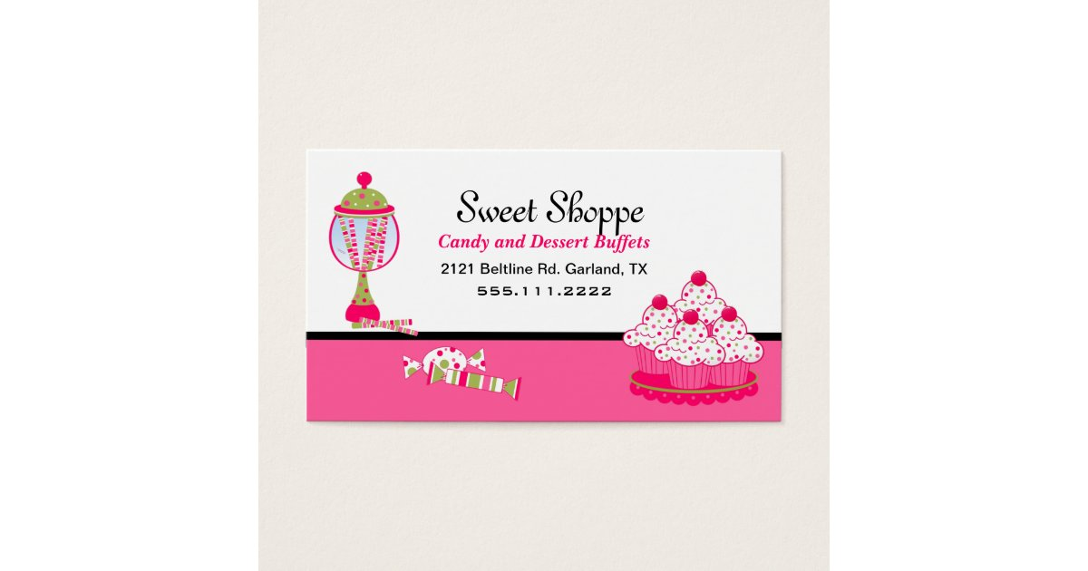 Pretty Candy and Desert Catering Business Card | Zazzle.com