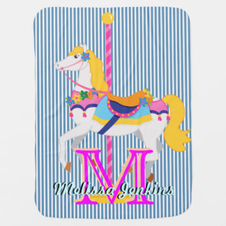 pretty carousel horse name  initial baby blanket