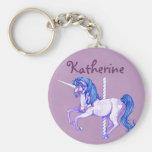 Pretty Carousel Unicorn Art Keychains
