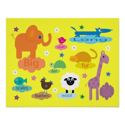 animal pictures for children to colour. Pretty cartoon animal poster