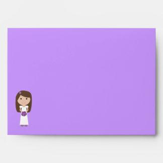 Pretty Cartoon Bride Bridal Shower Lilac Custom Envelope