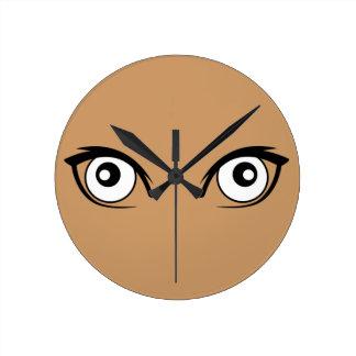 Pretty Cartoon Eyes Round Clocks