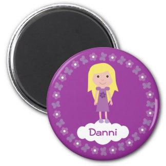 Pretty Cartoon Girl Flowers Purple Custom Magnet