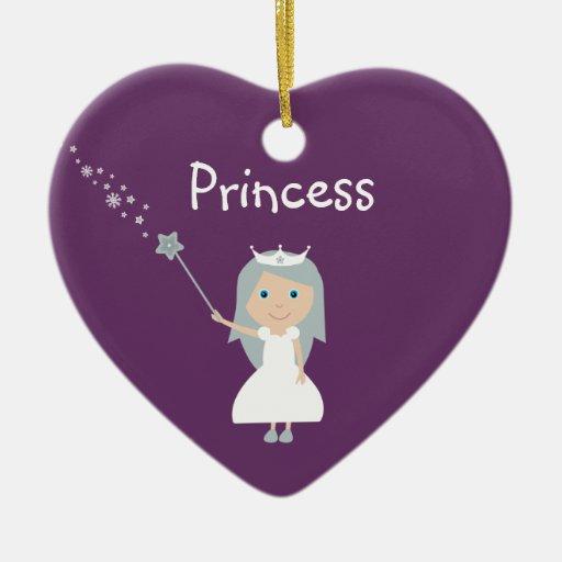 Pretty Cartoon Princess Customizable Purple Christmas Ornaments