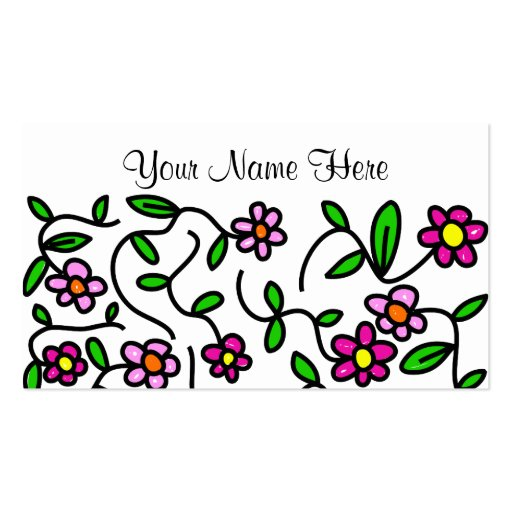Pretty Cartoon Whimsical Pink Daisy Design Double-Sided Standard Business Cards (Pack Of 100)