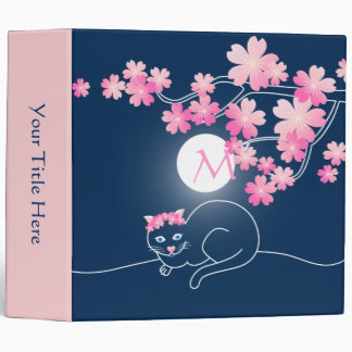 Pretty Cat Cherry Blossoms Moon Pink Sakura Blue 3 Ring Binder