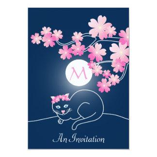Pretty Cat Cherry Blossoms Moon Pink Sakura Blue Card