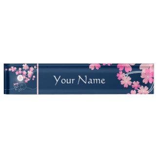 Pretty Cat Cherry Blossoms Moon Pink Sakura Blue Desk Name Plate