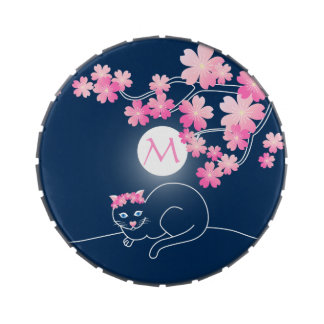 Pretty Cat Cherry Blossoms Moon Pink Sakura Blue Jelly Belly Candy Tins