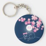 Pretty Cat Cherry Blossoms Moon Pink Sakura Blue Keychain