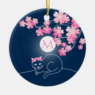Pretty Cat Cherry Blossoms Moon Pink Sakura Blue Christmas Ornament