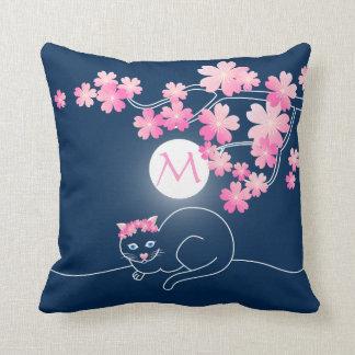 Pretty Cat Cherry Blossoms Moon Pink Sakura Blue Pillow