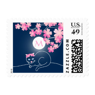 Pretty Cat Cherry Blossoms Moon Pink Sakura Blue Postage