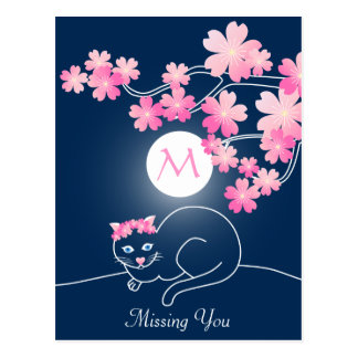 Pretty Cat Cherry Blossoms Moon Pink Sakura Blue Postcard